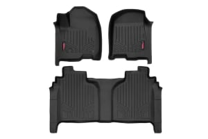 Heavy Duty Fitted Floor Mat Set (Front/Rear) for 2019 Chevrolet Silverado / GMC Sierra 1500 Pickup (Crew Cab)
